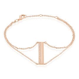 Bracelet Jollie Plaque Or Rose Oxyde De Zirconium - Bracelets fantaisie Femme | Histoire d'Or
