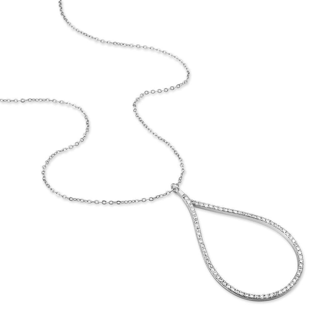 Collier Argent Blanc Oxyde De Zirconium - Bijoux Femme   Histoire d'Or