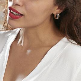 Créoles Athenea Plaque Or Bicolore - Boucles d'oreilles créoles Femme | Histoire d'Or
