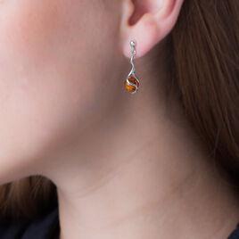 Boucles D'oreilles Pendantes Hedwige Argent Blanc Ambre - Boucles d'oreilles fantaisie Femme | Histoire d'Or