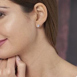 Boucles D'oreilles Puces Breana Argent Blanc Oxyde De Zirconium - Boucles d'Oreilles Coeur Femme | Histoire d'Or