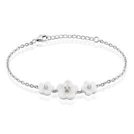 Bracelet Harione Argent Blanc Céramique Et Oxyde De Zirconium - Bracelets fantaisie Femme   Histoire d'Or