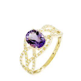 Bague Tina Or Jaune Amethyste Et Diamant - Bagues avec pierre Femme | Histoire d'Or