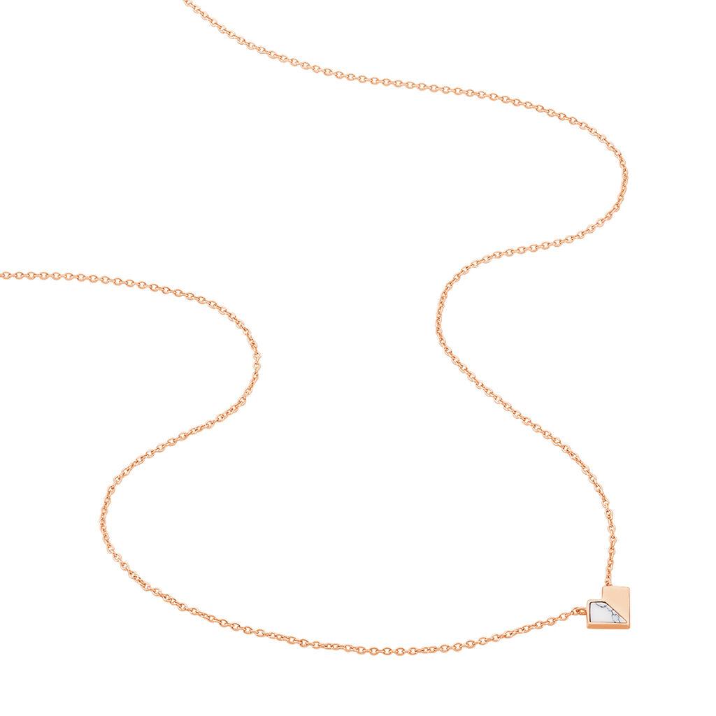 Collier Rossana Argent Rose Pierre De Synthese - Colliers Coeur Femme   Histoire d'Or