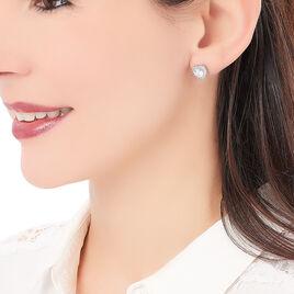 Boucles D'oreilles Pendantes Calvi Argent Blanc Oxyde De Zirconium - Boucles d'Oreilles Coeur Femme | Histoire d'Or