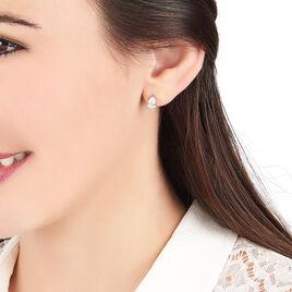 Boucles D'oreilles Puces Clarysse Argent Blanc Oxyde De Zirconium - Boucles d'oreilles fantaisie Femme | Histoire d'Or