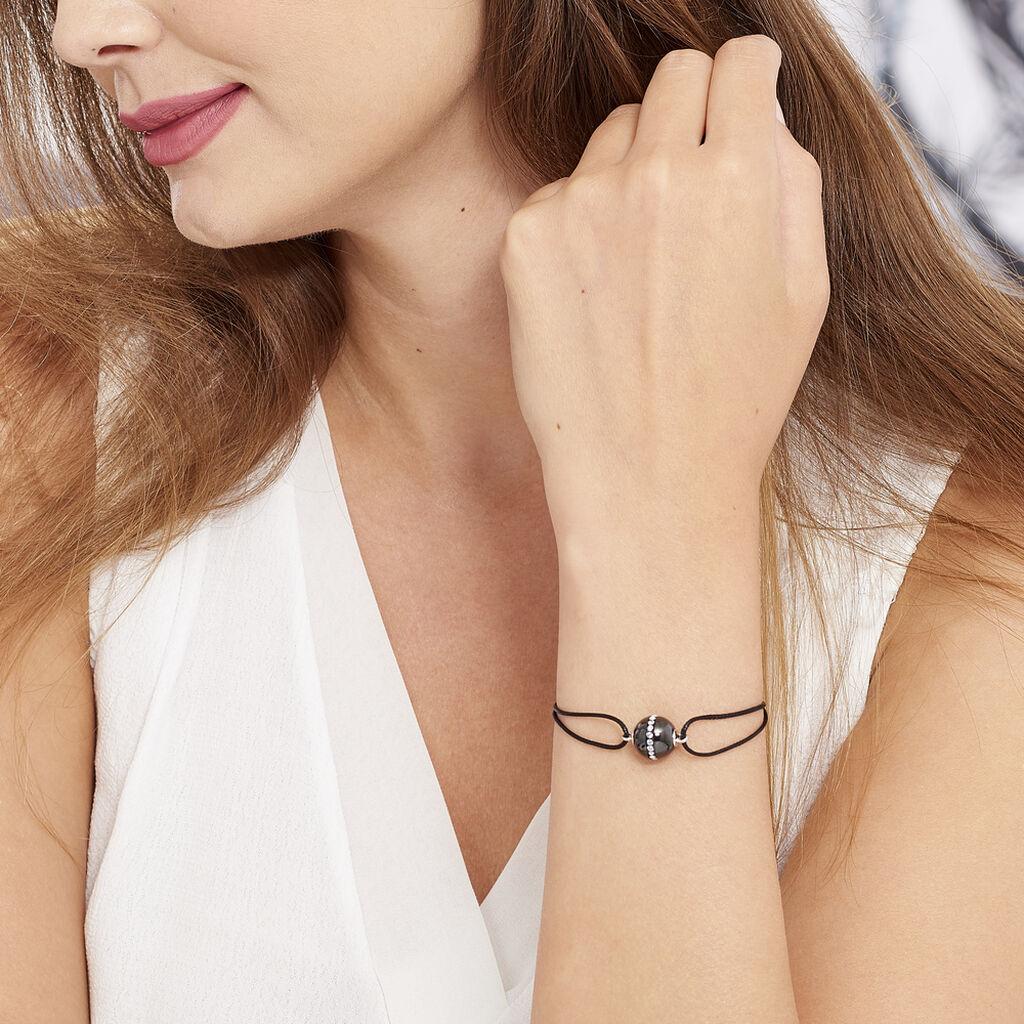 Bracelet Nina Cera Argent Blanc Strass Et Céramique - Bracelets cordon Femme | Histoire d'Or