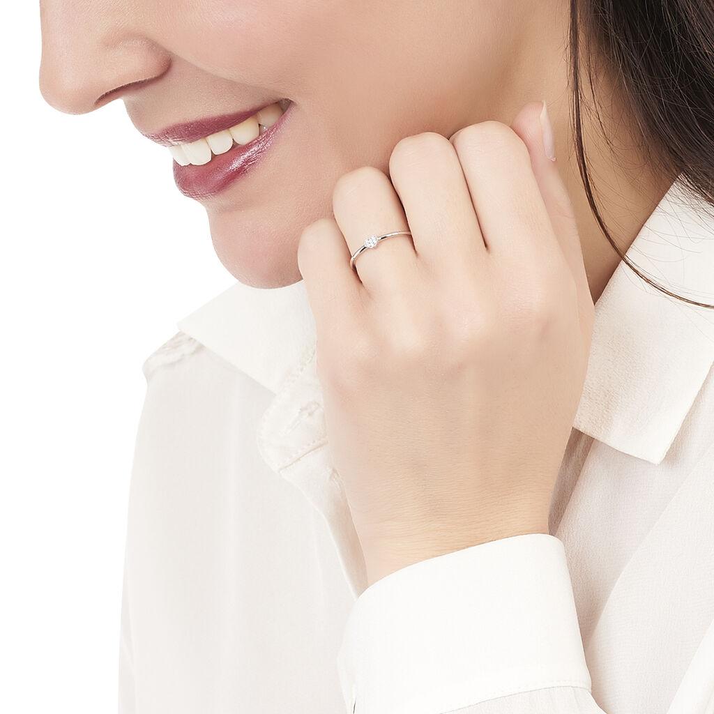 Bague Accumulation Coeur Argent Blanc Oxyde De Zirconium - Bagues Coeur Femme   Histoire d'Or