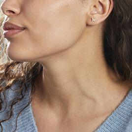 Boucles D'oreilles Puces Or Jaune Fragaria Oxydes - Boucles d'Oreilles Papillon Femme | Histoire d'Or