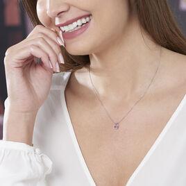 Collier Eliana Or Blanc Amethyste Et Oxyde De Zirconium - Colliers Coeur Femme | Histoire d'Or