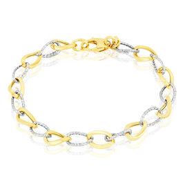 Bracelet Joice Maille Alternee Lisse Et Godronne Or Bicolore - Bijoux Femme   Histoire d'Or