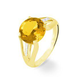 Bague Cecile Or Jaune Quartz Et Diamant - Bagues avec pierre Femme | Histoire d'Or