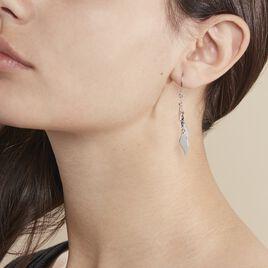 Boucles D'oreilles Pendantes Alli Argent Blanc - Boucles d'Oreilles Plume Femme | Histoire d'Or
