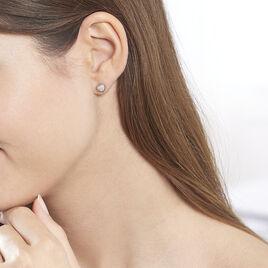 Boucles D'oreilles Puces Anne-sophie Or Rose Diamant - Boucles d'Oreilles Coeur Femme   Histoire d'Or