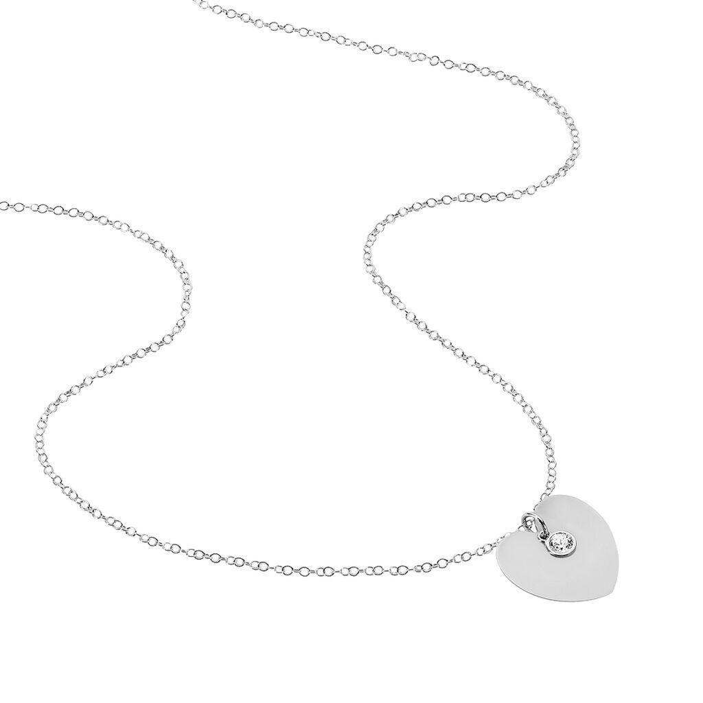 Collier Sautoir Paula Argent Blanc Oxyde De Zirconium - Colliers Coeur Femme | Histoire d'Or