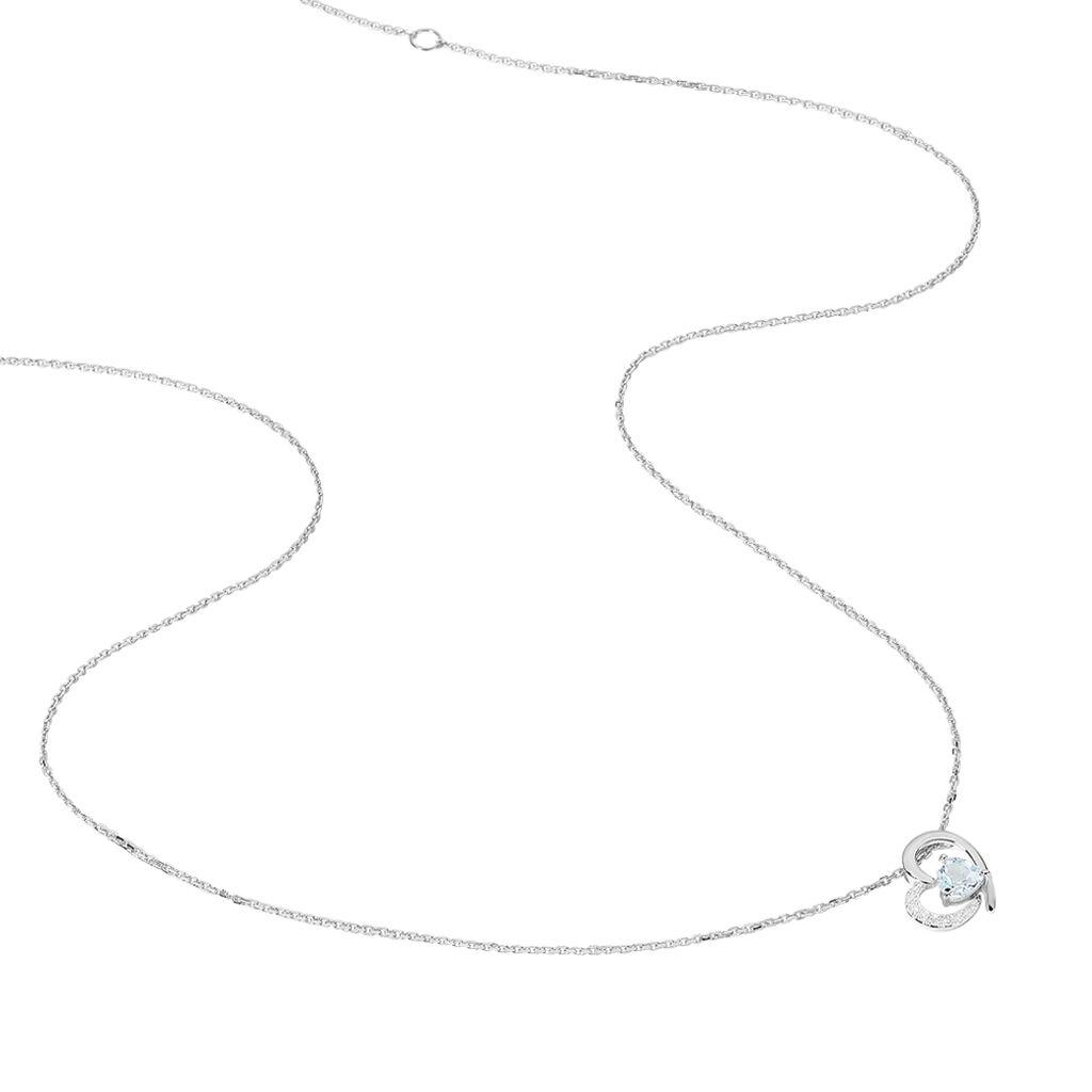 Collier Eliana Or Blanc Topaze Et Diamant - Colliers Coeur Femme | Histoire d'Or
