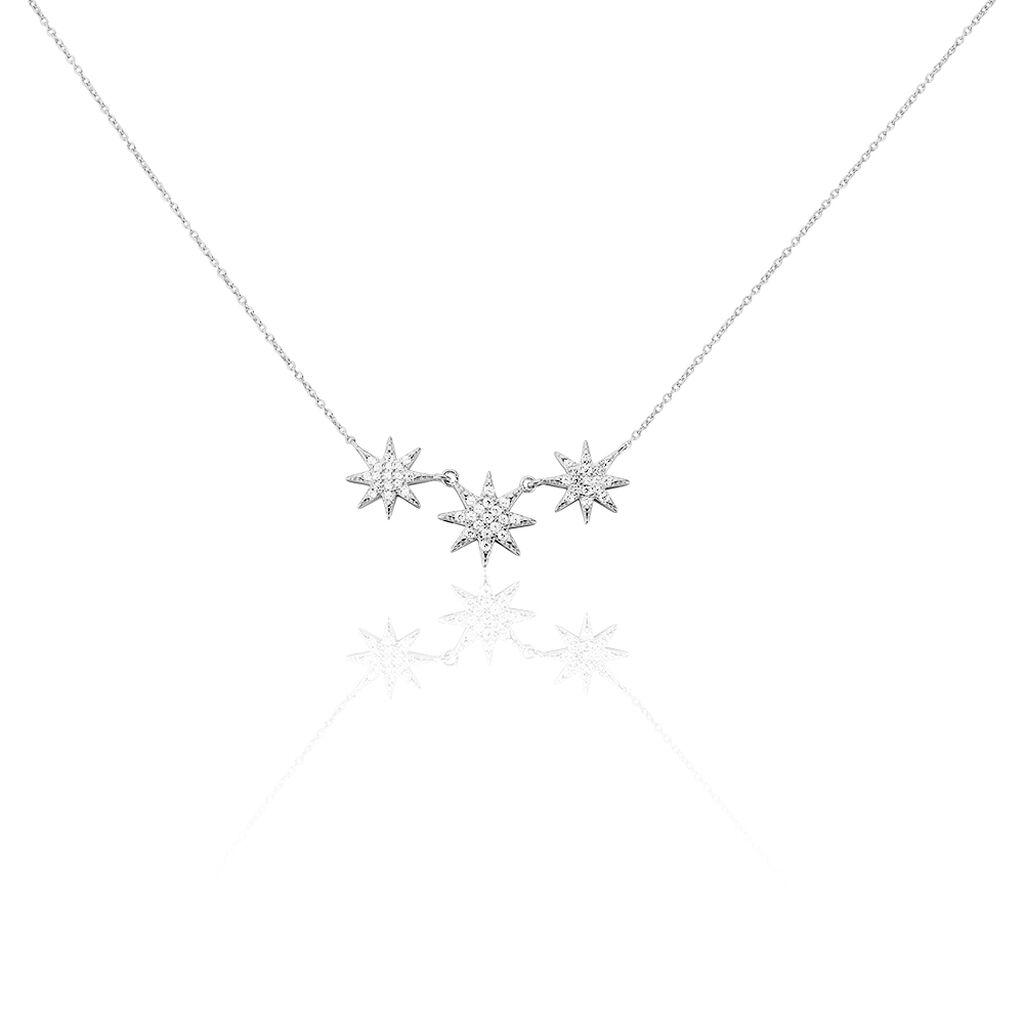 Collier Sathya Argent Blanc Oxyde De Zirconium - Colliers Etoile Femme   Histoire d'Or
