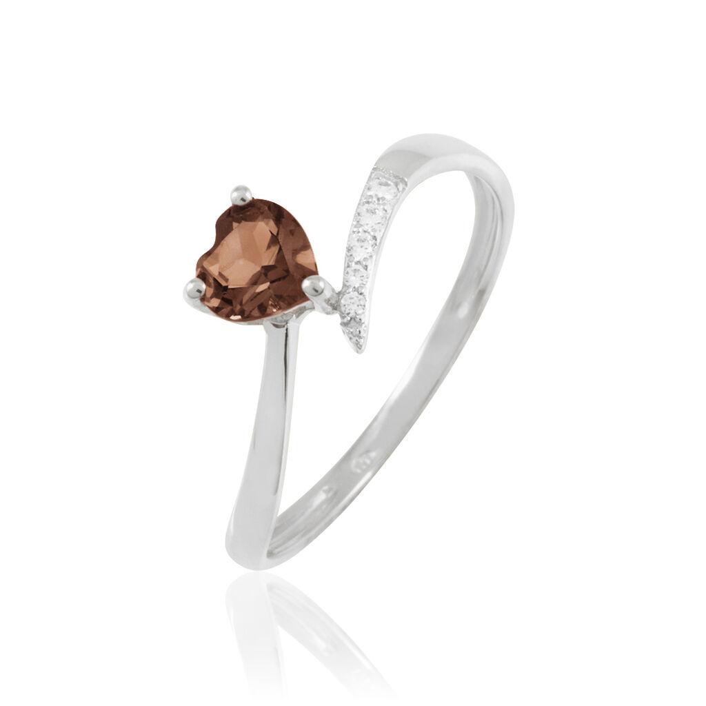 Bague Eva Or Blanc Quartz Et Diamant - Bagues Coeur Femme   Histoire d'Or
