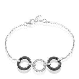 Bracelet Magalie Argent Blanc Céramique Et Oxyde De Zirconium - Bracelets fantaisie Femme   Histoire d'Or