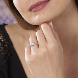 Bague Conception Argent Blanc Oxyde De Zirconium - Bagues avec pierre Femme   Histoire d'Or