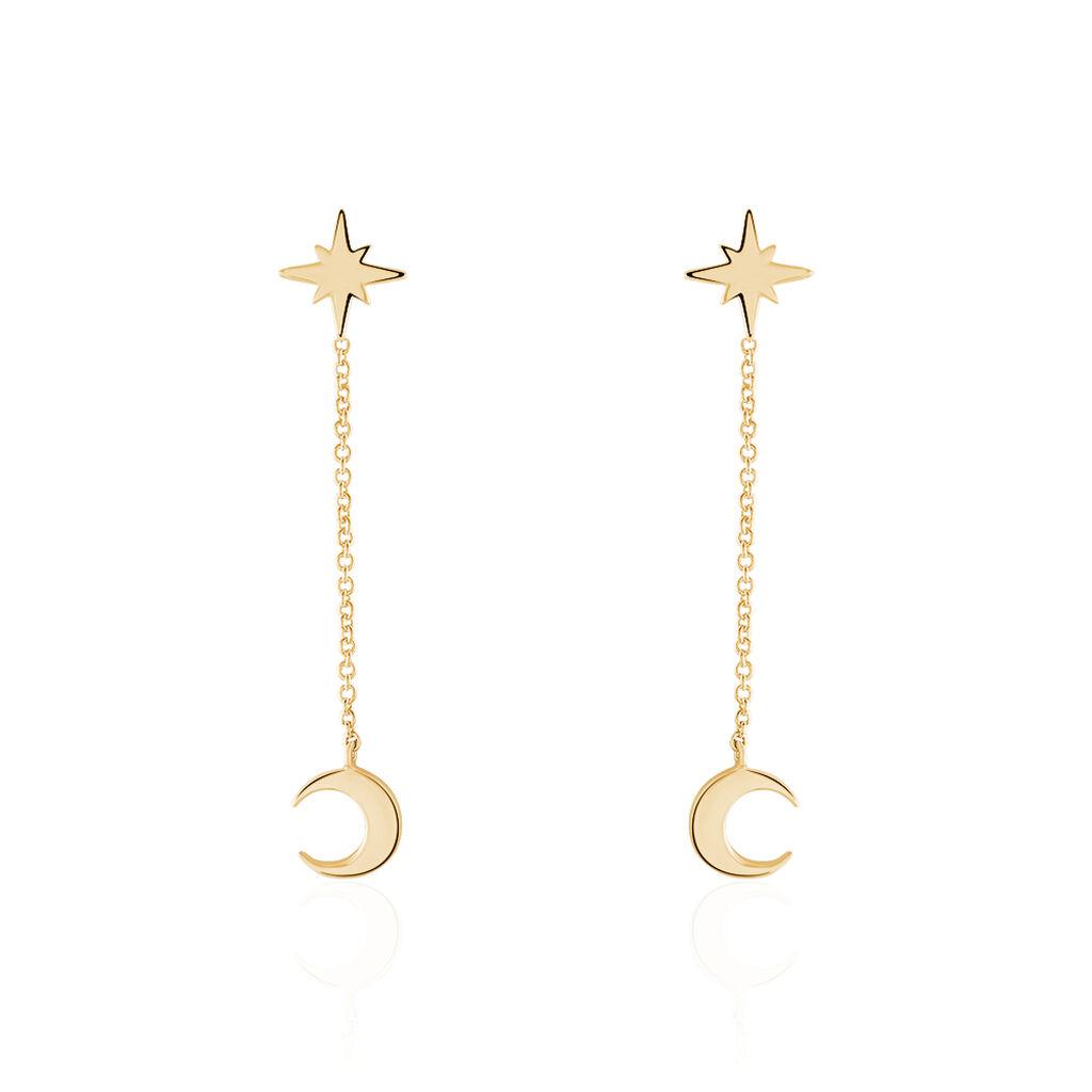 Boucles D'oreilles Pendantes Ara Plaque Or Jaune - Boucles d'Oreilles Etoile Femme | Histoire d'Or