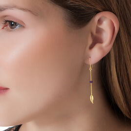 Boucles D'oreilles Pendantes Or Jaune Amethyste - Boucles d'Oreilles Plume Femme | Histoire d'Or