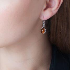 Boucles D'oreilles Pendantes Lucina Argent Blanc Ambre - Boucles d'oreilles fantaisie Femme | Histoire d'Or