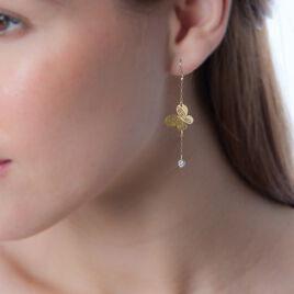 Boucles D'oreilles Puces Theophanie Or Jaune Strass - Boucles d'Oreilles Papillon Femme | Histoire d'Or