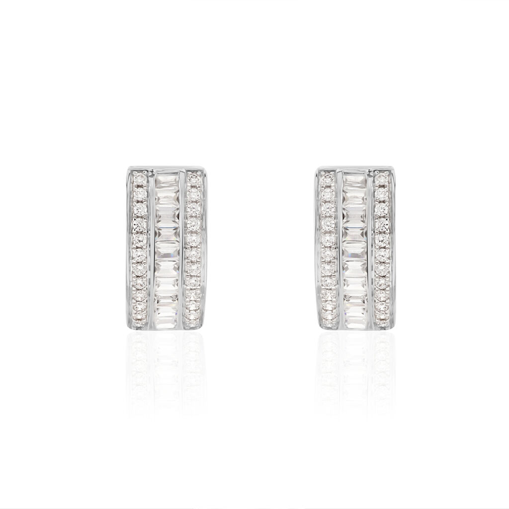Boucles D'oreilles Puces Agathon Or Blanc Oxyde De Zirconium - Clous d'oreilles Femme | Histoire d'Or