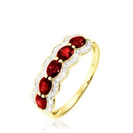 Bague Margaux Or Jaune Grenat Et Diamant - Bagues avec pierre Femme | Histoire d'Or