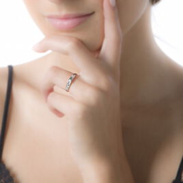 Bague Solitaire Alexandrina Or Bicolore Diamant - Bagues avec pierre Femme | Histoire d'Or