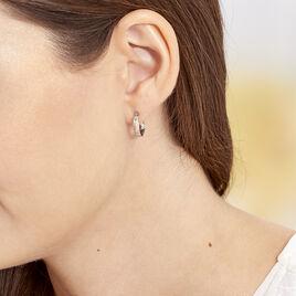Créoles Diane Carrées Helicoidales Argent Blanc - Boucles d'oreilles créoles Femme | Histoire d'Or
