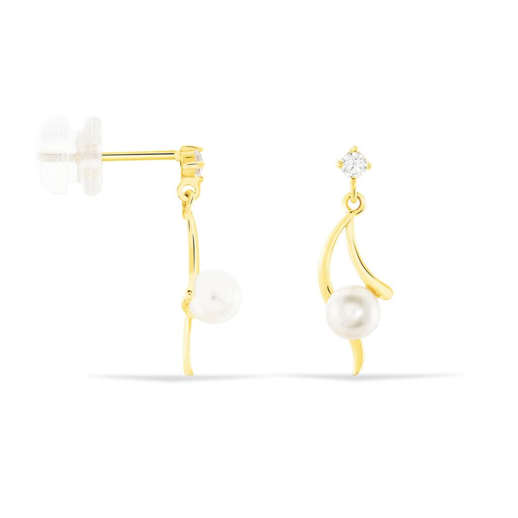 Boucles D'oreilles Pendantes Orientale Or Jaune Perle De Culture - Boucles d'oreilles pendantes Femme | Histoire d'Or