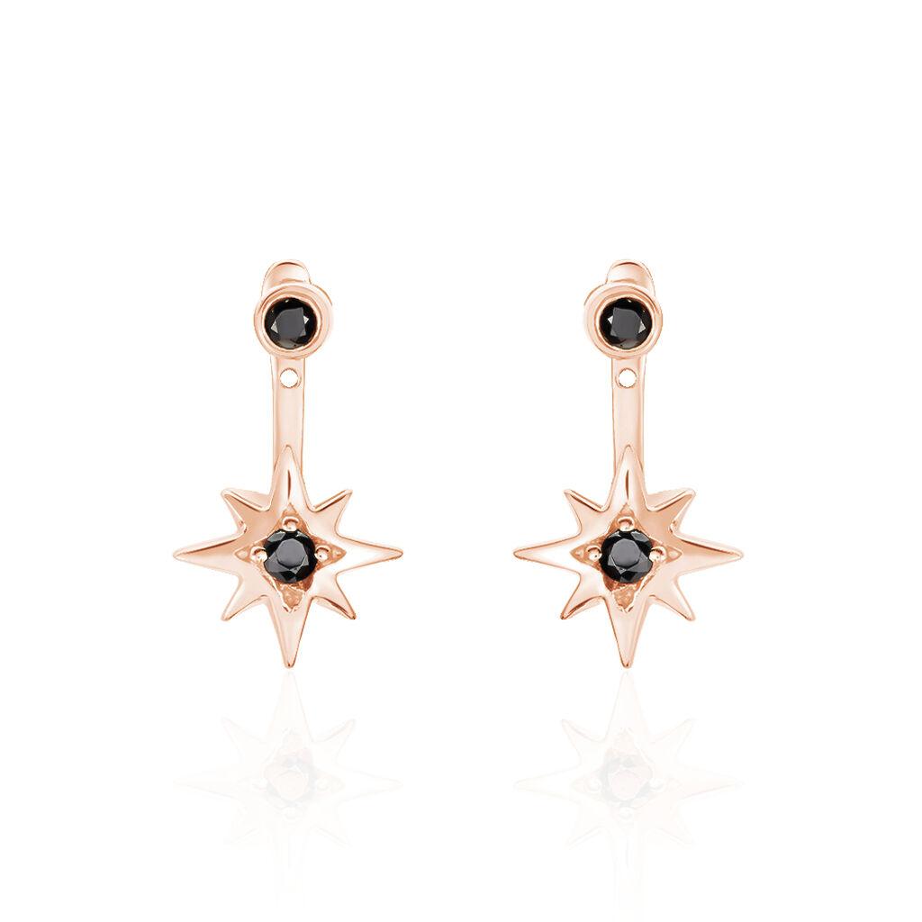 Bijoux D'oreilles Evora Argent Rose Oxyde De Zirconium - Boucles d'Oreilles Etoile Femme   Histoire d'Or