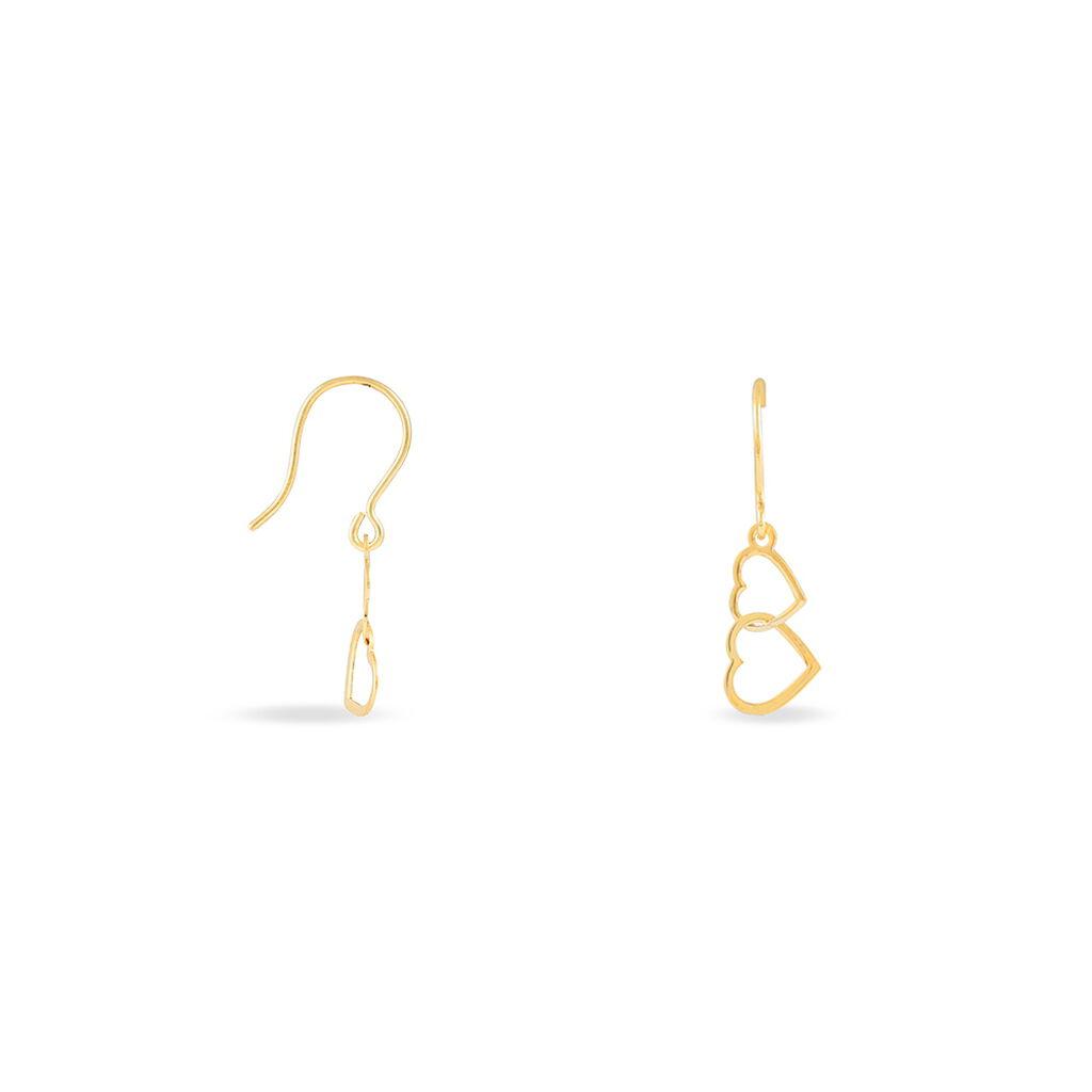 Boucles D'oreilles Pendantes Or Jaune - Boucles d'Oreilles Coeur Femme | Histoire d'Or