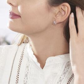 Bijoux D'oreilles Anjali Argent Blanc - Boucles d'Oreilles Plume Femme | Histoire d'Or