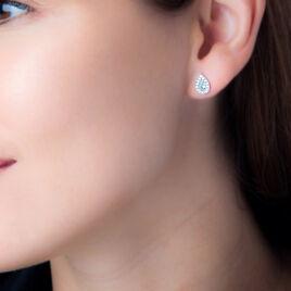 Boucles D'oreilles Puces Tania Argent Pierre De Synthese Et Oxyde - Boucles d'oreilles fantaisie Femme | Histoire d'Or