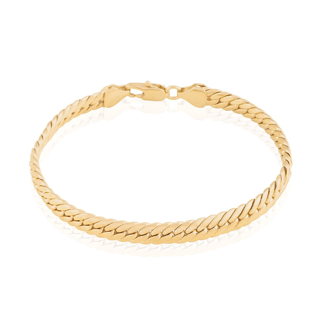 Bracelet Messaline Maille Anglaise Plaque Or Jaune - Bracelets chaîne Femme   Histoire d'Or