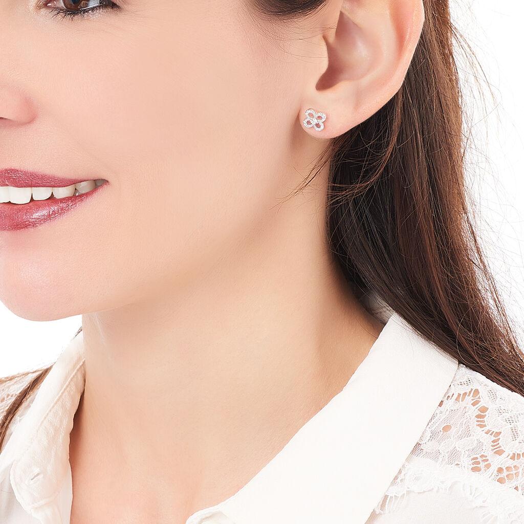 Boucles D'oreilles Puces Sophia Argent Blanc Oxyde De Zirconium - Boucles d'oreilles fantaisie Femme | Histoire d'Or
