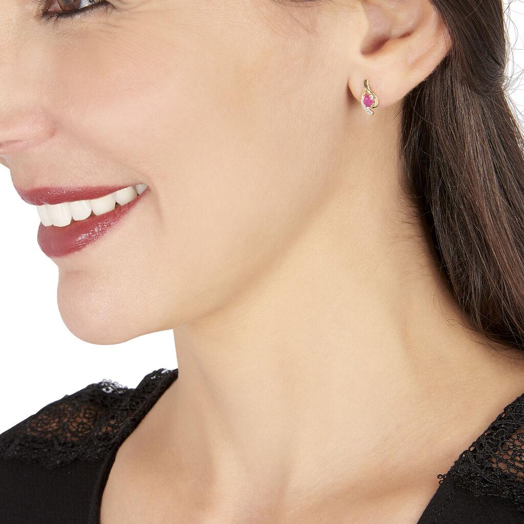 Boucles D'oreilles Puces Sagesse Or Jaune Rubis Et Diamant - Clous d'oreilles Femme | Histoire d'Or