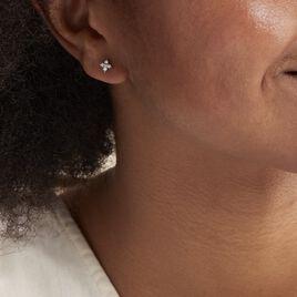 Boucles D'oreilles Puces Winter Flower Or Blanc Oxyde De Zirconium - Boucles d'Oreilles Trèfle Femme | Histoire d'Or