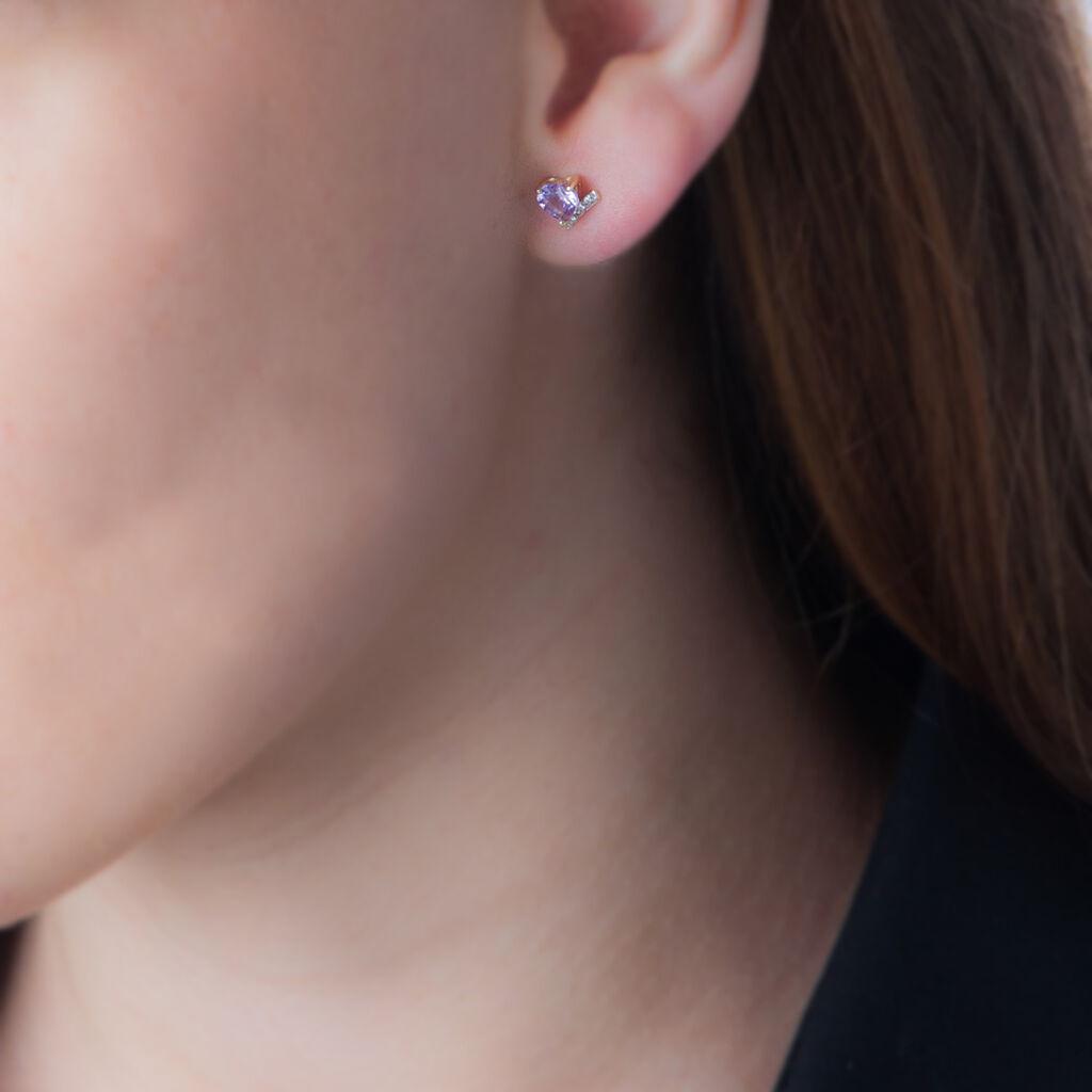 Boucles D'oreilles Puces Eva Or Jaune Amethyste Et Oxyde De Zirconium - Boucles d'Oreilles Coeur Femme   Histoire d'Or