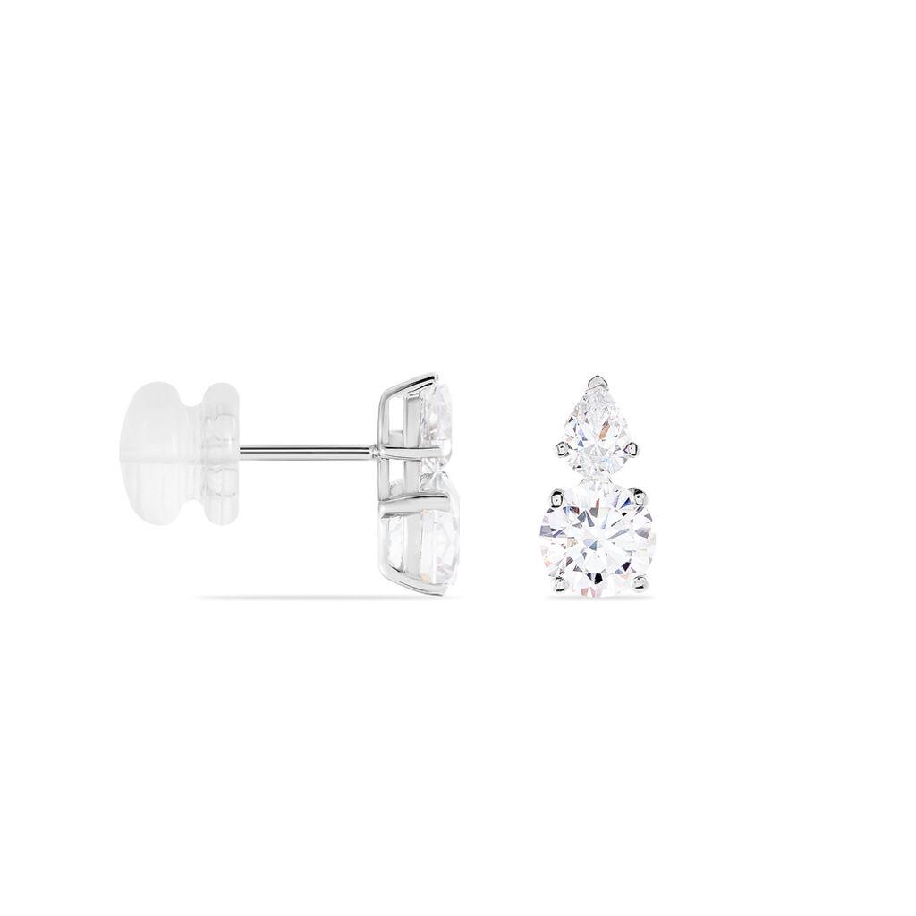 Boucles D'oreilles Puces Giana Or Blanc Oxyde De Zirconium - Clous d'oreilles Femme   Histoire d'Or
