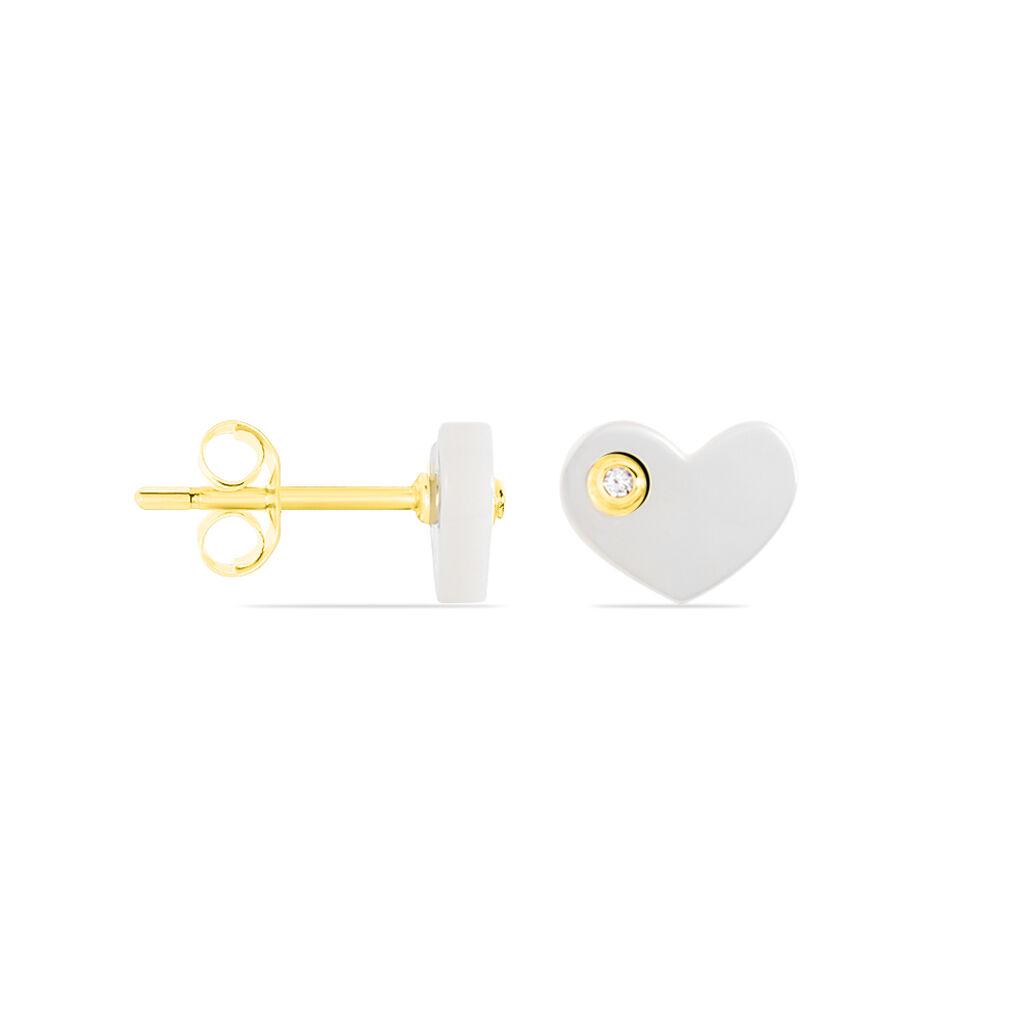 Boucles D'oreilles Puces Or Jaune Nacre Et Oxyde De Zirconium - Boucles d'Oreilles Coeur Femme | Histoire d'Or