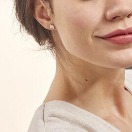 Boucles D'oreilles Puces Eleanor Dauphin 0 Or Jaune Strass - Clous d'oreilles Femme   Histoire d'Or
