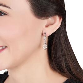Boucles D'oreilles Pendantes Mahee Argent Blanc - Boucles d'oreilles fantaisie Femme | Histoire d'Or