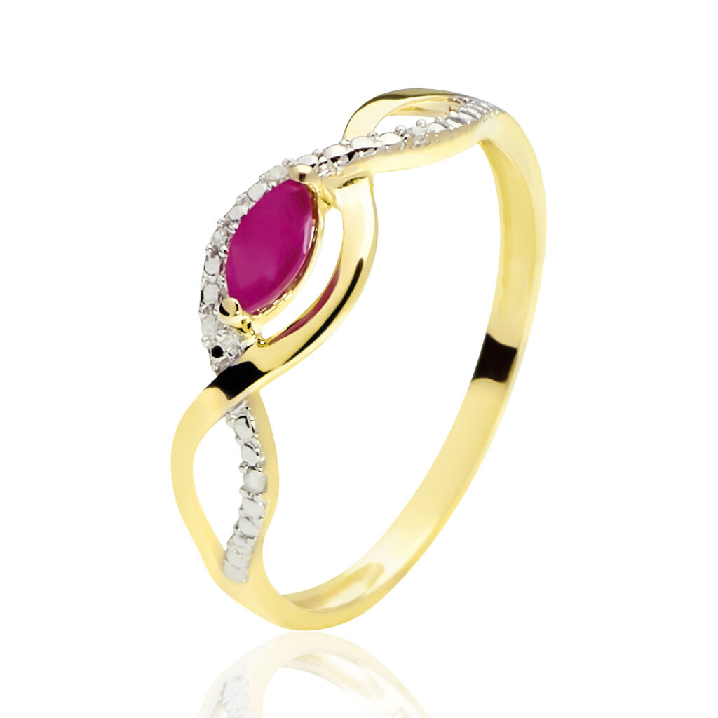 Bague Ondulation Or Bicolore Rubis Et Diamant