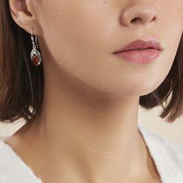 Boucles D'oreilles Pendantes Enya Argent Blanc Ambre - Boucles d'oreilles fantaisie Femme | Histoire d'Or