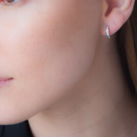 Créoles Geraldine Or Blanc Oxyde De Zirconium - Boucles d'oreilles créoles Femme | Histoire d'Or