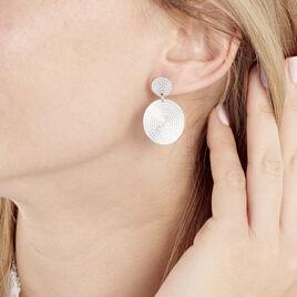 Boucles D'oreilles Pendantes Doga Argent Blanc - Boucles d'oreilles fantaisie Femme   Histoire d'Or